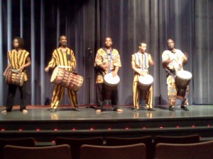 African drummers lead the crowd in the theatre together at the start of each night's celebration. Photo credit: Briana Simmons