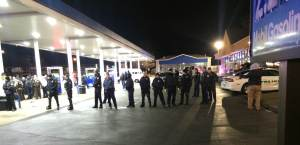 Scene at Mobil Gas Station in Berkeley, Mo. following shooting. Photo credit: Alex Scott