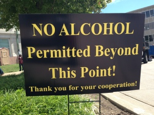According to university policy, all drinking must come to an end at kickoff. Photo credit: Khadijah Forrest