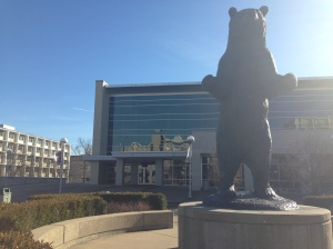 Photo credit: Angela Agaen The Bear statue in front of the plaster student union at Missouri State University