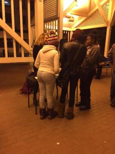 Protestors signing up for mediation and meetings with owner of Zan night club. Photo Credit: Myesha Smith